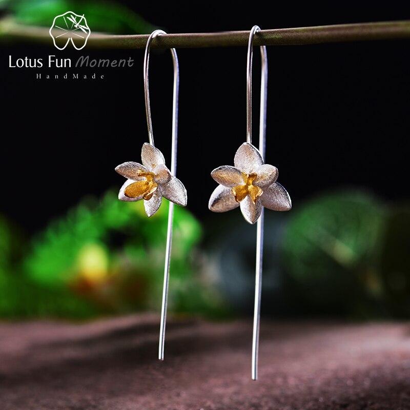 Lotus Plaisir Moment Réel 925 Sterling Argent Vintage Longues Boucles D'oreilles Mode Bijoux Mignon Floraison Fleur Boucles D'oreilles pour les Femmes