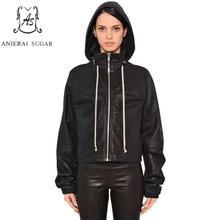 Spring autumn Sheepskin genuine leather jacket women black female zipper Hooded Loose leisure motorcycle real leather clothing