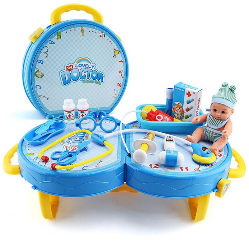 Funny Toys Doctor Play sets Simulation Medicine Box Role Pretent Play Doctor Toys Stethoscope Injections toys for Children gifts small home appliance mixer simulation play toys