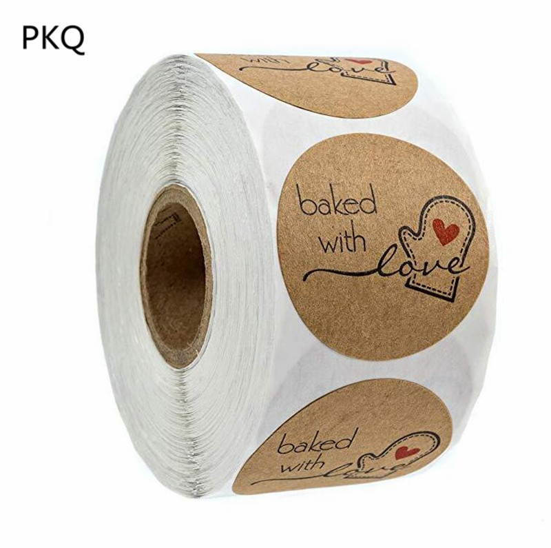 1 inch Round Natural Kraft Bake with love Stickers 500 Labels/roll cute stickers for Cake Packaging seal labels handmade sticker(China)