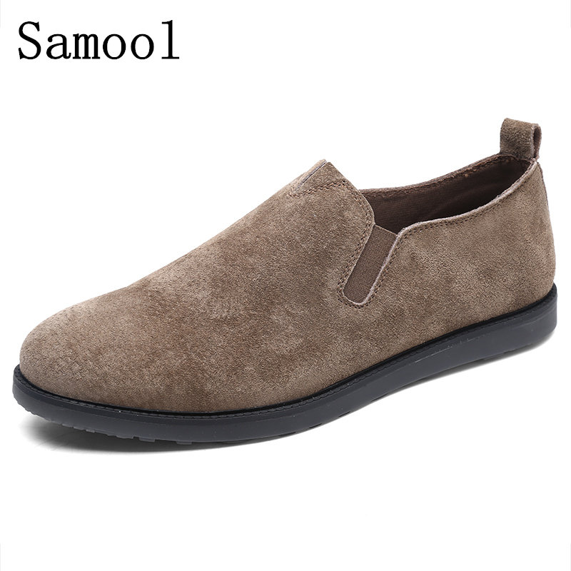 Samool Hight Quality Genuine Leather Men Flats Casual Shoes Soft Loafers Comfortable Driving Shoes Men Breathable Driving Shoes
