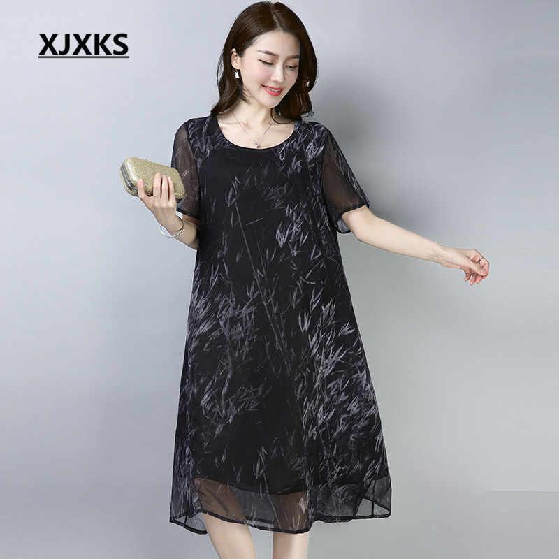 ac336444d672 XJXKS ladies clothing short-sleeved women chiffon dresses summer 2018  breathable cool women s large size