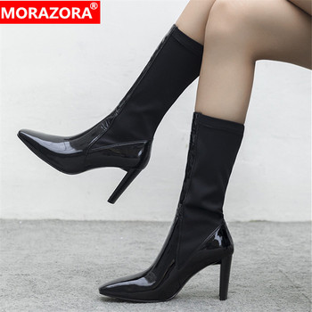 MORAZORA 2020 new arrival women mid calf boots patent leather square toe Stretch boots fashion sexy high heels shoes woman