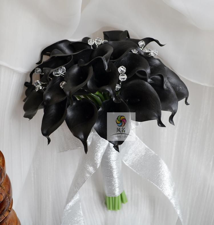 Brand Bridal Wedding Bouquet Black PU Calla Lily Flower Clear Crystal Bead HandMade Wedding Bridesmaid Flower Home Decorations