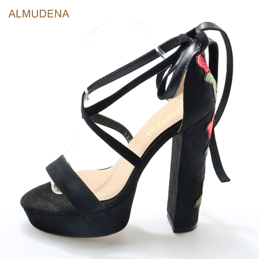 ALMUDENA Customized Newest Hot Selling Floral Embroidered Lace Up Chunky Heels Black Suede Platform Sandals Red Flowers Heels black deep v neck floral embroidered lace lingeries