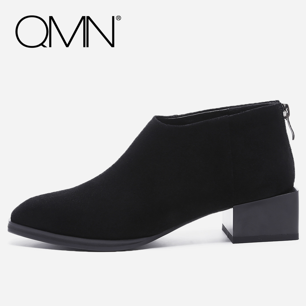 QMN women genuine leather ankle boots for Women Horsehair Square Toe Fashion Boots Zip Shoes Woman Cow Suede Basic Boots 34-40 qmn women genuine leather flats women square toe brogue shoes woman typical british style real leather oxfords 34 40