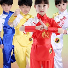 Barn Kinesiska Traditionella Wushu Kläder för Kids Martial Arts Uniform Kung Fu Suit Girls Boys Stage Performance Costume Set