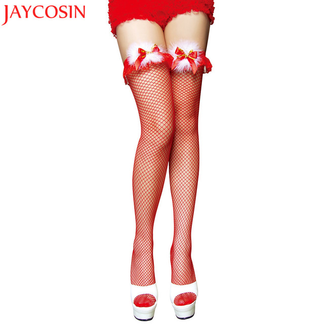 c69f89057b9 Christmas Women Lace Stockings Ultrathin Sheer Silk Over Knee Thigh High  Hosiery Sexy Fashion Bowknot Stockings Pantyhose NO2G