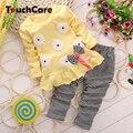 Bebê Roupas Menina Set Heart-shaped Impressão Arco Bonito 2 PCS Conjunto De Pano Crianças Pano Terno Top T shirt + calças