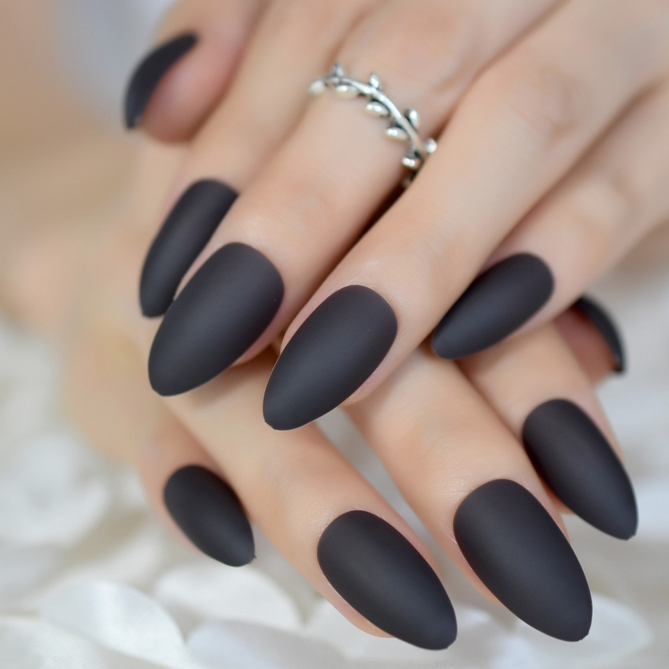 Black Gray Grey Matte Stiletto Frosted False Fake Nail Tips Oval