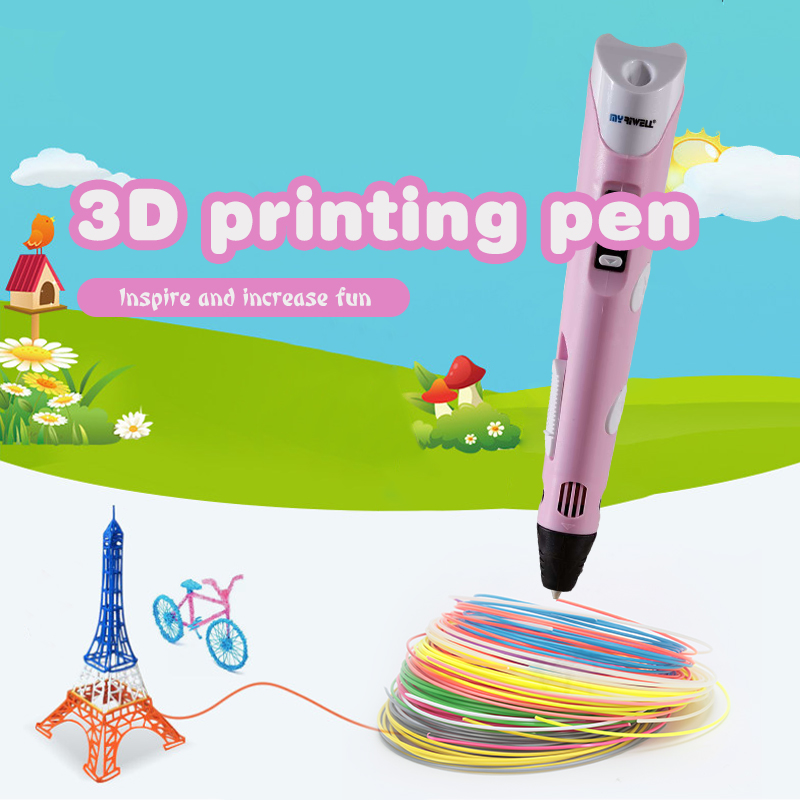 Myriwell 2nd 3D Pen Doodler Low-Heat Making Doodle Arts & Crafts Multi-Color ABS Filament (3color*3m) Paper Model 20 Pieces