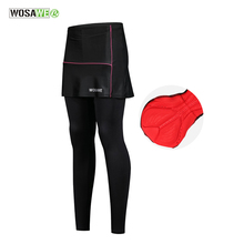 WOSAWE Cycling Pants Women Breathable MTB Bicycle Bike Pant With Skirt Comfortable 3D Padded Trousers Female Cycling Clothing