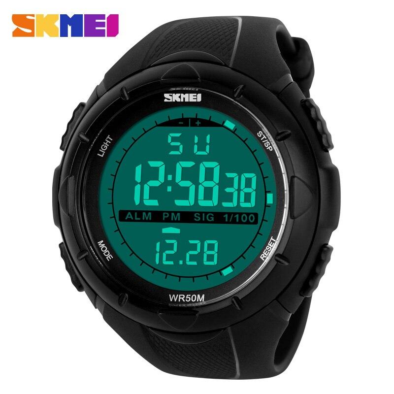 SKMEI marca 1025 LED Digital hombres reloj militar hombres relojes deportivos 5ATM natación escalada moda exterior Casual hombres relojes de pulsera