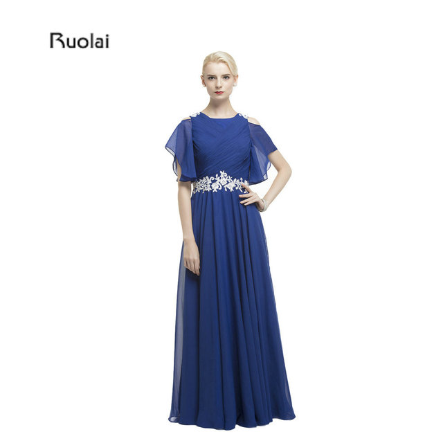 New Arrival Chiffon Cap Sleeves Floor Length Appliques Formal Mother Of The Bride Dresses For Wedding Party Custom Made
