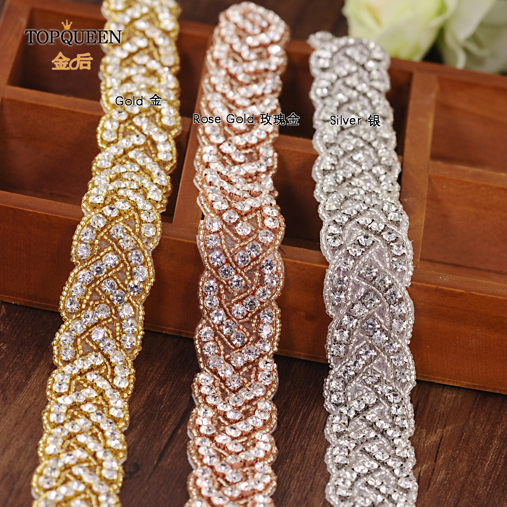 TOPQUEEN S216 Three Colors Women's Rhinestones Handmade Belt Wedding Dress Belt  Bridal Sashes Can Customize Any Size