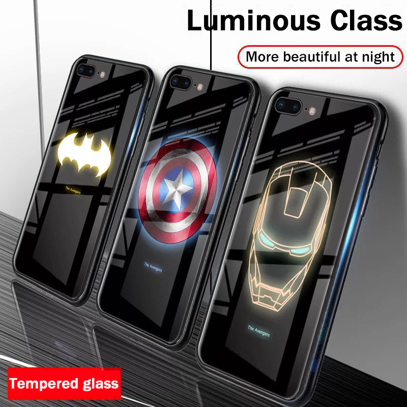 Luxury Luminous Tempered Glass <font><b>Case</b></font> For iphone X 10 XS MAX XR 6 6S 7 8 plus Marvel Batman Captain America Iron Man Phone Cover image