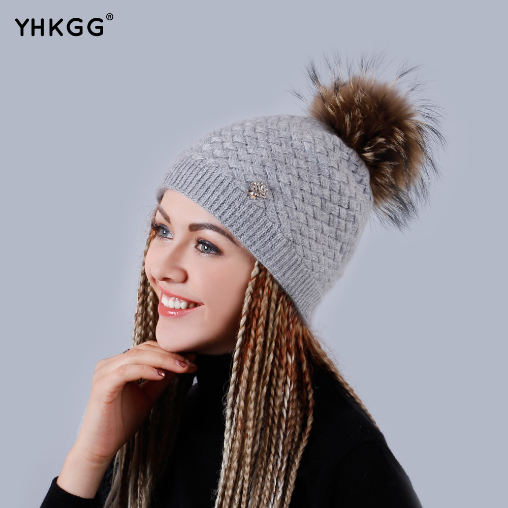 YHKGG Beanies Knitted Hats Rhombus Striped Caps with Fur Pompom on The Button Unisex Big Raccoon's Hat 2017 Warm Hat H005 2017 yhkgg the girl s hat warm and comfortable in winter hats the ornament of a flower cute baby hat knitting hat