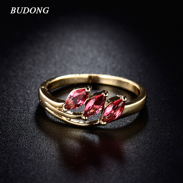 BUDONG Cocktail Party Band  Gold Color Ring Marquise Ring Unique Rose Red Crystal CZ Zircon Ring for Women Jewelry XUR112