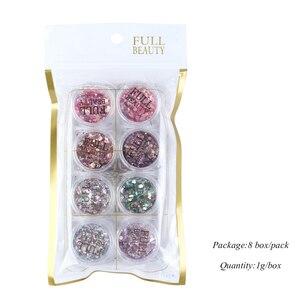 Image 5 - 1 takım holografik tırnak Glitter seti toz Nail Art Pigment DIY pul Nail Art süslemeleri toz jel manikür Pigment CH1506 08