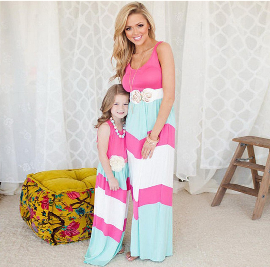 d7e33787d470d Trendy Mother and Daughter Boho Stripe Maxi Dress mommy me matching set  Kids outfits Casual A-Line Dress Ankle-Length