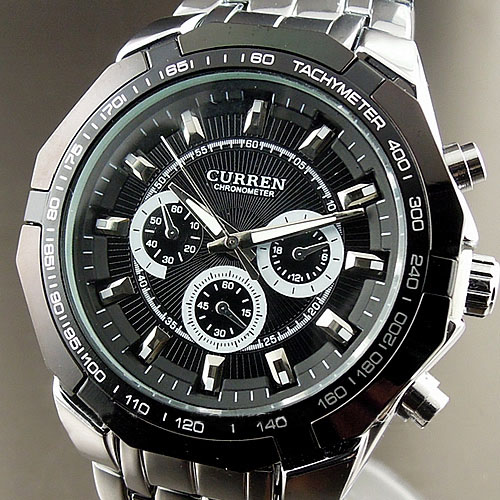 2016 NEW CURREN SPORTS STYLE MEN WATCH,FASHION BLACK QUARTZ ADJUSTABLE STAINLESS STEEL WRIST WATCH MENS WATCHES FREE SHIPPING