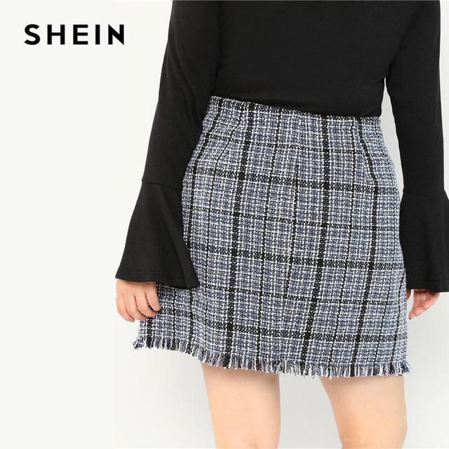 SHEIN Plus Size Frayed Trim Hem High Waist Blue Plaid Tweed Mini A-Line Skirt Women High Street Short Skirt 3