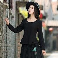 KYQIAO Oryginalna koszula 2017 kobiet jesień krótkie konstrukcja z długim rękawem szczupła talia czarny biały niebieski bluzka koszula Chiński sklep on-line