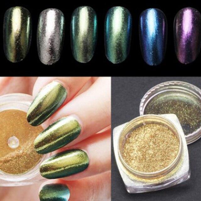 6 Pcs DIY Nail Art Decorations Shinning Magic Nail Art Mirror Powder Nail Decorations Multicolor Glitters Powder Pigment-in Nail Glitter from Beauty & ...