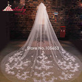 Simple Cathedral Train 3m Lace Wedding Veil With Comb One Layer Beaded Sequin Flowers Bridal Veil  Wedding Accessories RC16