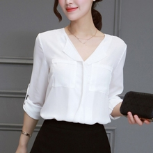 Women White Chiffon Shirts Summer V-Neck Long Sleeve Blouses Solid Color Loose Shirt Versatile Blouse