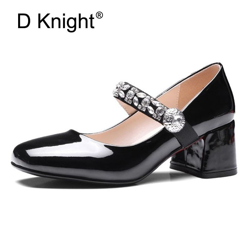 Sexy Pumps Women Shoes High Hoof Heels BLACK RED Rhinestone Wedding Shoes Crystal Patent Leather Mary Janes Womens Shoes Girls siketu free shipping spring and autumn high heels shoes career sex women shoes wedding shoes patent leather style pumps g017