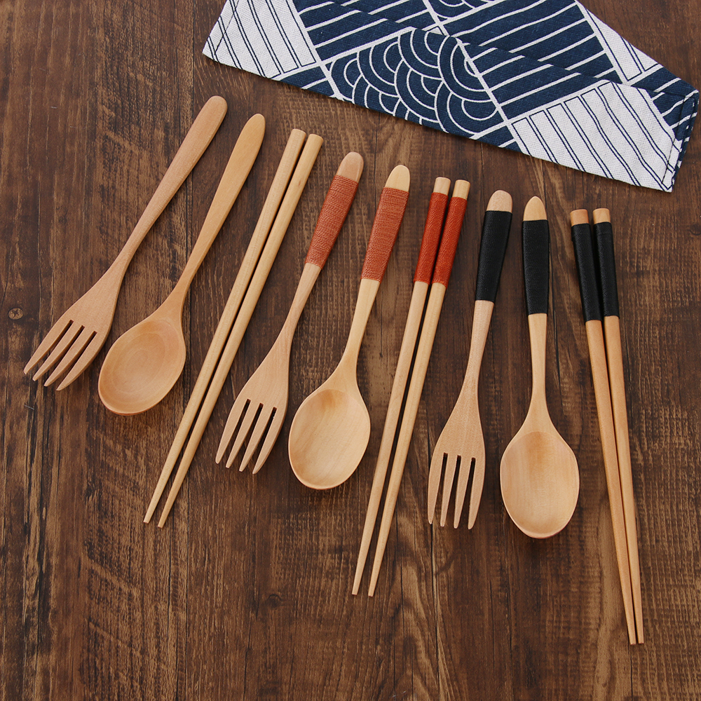 Set Japanese Style Portable Wooden Cloth Bag Natural Spoon Fork Chopsticks