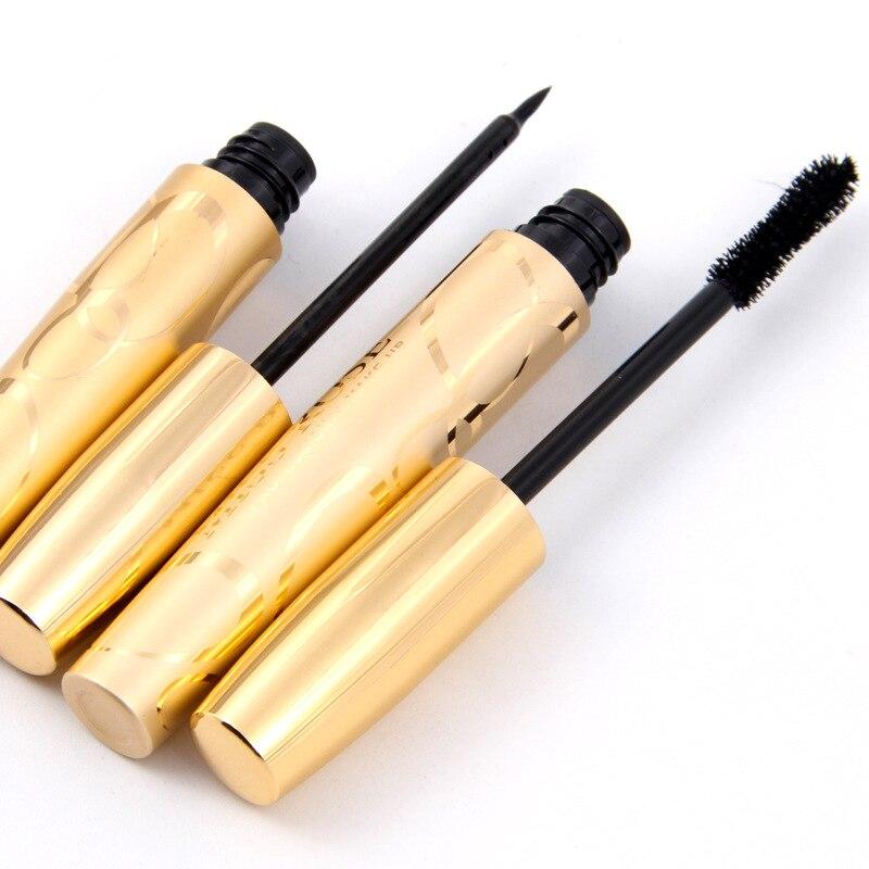 2PCS/Sets Mascara + Eyeliner Liquid Double Golden Thick Gel Natural Fibers Brand 2 in 1 Enlarge Waterproof Mascara Makeup Tools