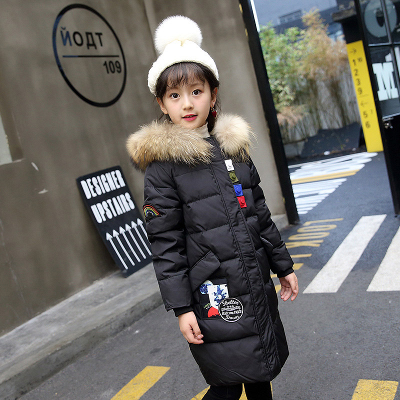 2018 Children Parka Coat Hooded Fur Collar Warm Clothes Girls Winter Coat -30 degree Snow Wear Kids Thick Jackets For Girls girls winter coat 30 degree snow wear children parka coat hooded fur collar velvet clothes kids thick warm jackets for girls