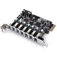 Siêu Tốc Độ PCI-E để USB 3.0 7 Cổng Superspeed PCI-E Card Mở Rộng PCI Express Nội Bộ Nối cho Máy Tính Để Bàn PC EM88