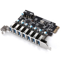 Super Speed PCI E to USB 3.0 7 Ports Superspeed PCI E Expansion Card PCI Express Internal Connector for Desktops PC EM88