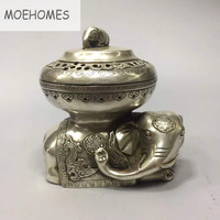 MOEHOMES China classical home decoration miao Silver fengshui Wealth Elephant Statue metal crafts Incense burner