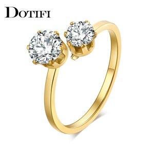 Женские кольца из нержавеющей стали DOTIFI, обручальное кольцо с двойным цирконием 316L