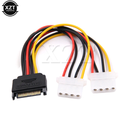 1 pcs 15 Pin SATA Macho para 2 4 Feminino Pin Avançado De Energia Molex IDE HDD Disco Rígido Cabo conector adaptador Universal