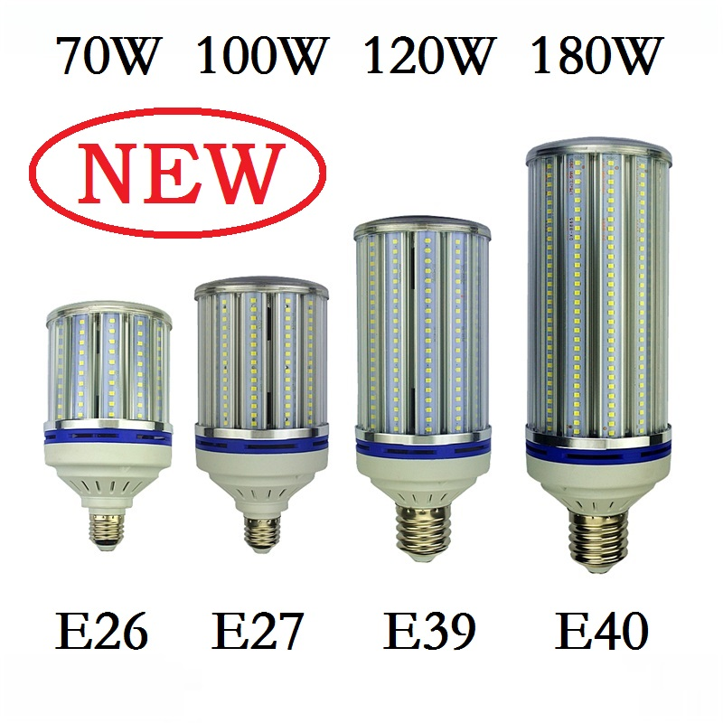 70W 100W 120W 180W E27 E40 LED Bulb Light E26 E39 street lighting High Bright 110V 220V Corn Lamp for Warehouse Engineer Square free shipping e26 e39 100w led corn bulb for post light fixture with etl listed
