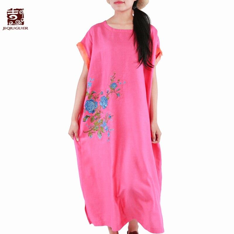 Jiqiuguer женский розовый красный летний Повседневный пуловер с карманами Vestidos с круглым вырезом 100% лен до середины икры лоскутное платье с выш
