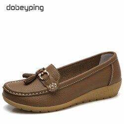 Dobeyping 2018 nueva llegada zapatos mujer cuero genuino mujeres pisos Slip On Women's mocasines mujer zapato más tamaño 35-44