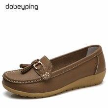 d259f8997 Dobeyping 2018 Nova Chegada Sapatos de Couro Genuíno Mulher Mulheres  Apartamentos Deslizamento Em Mocassins Mocassins Sapato