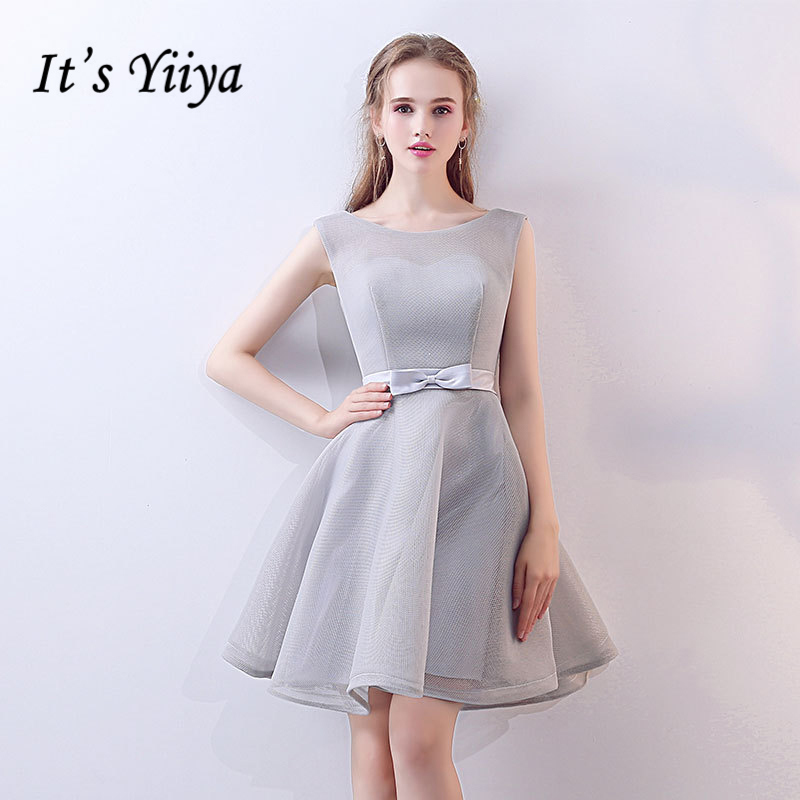 It's YiiYa Elegant   Bridesmaids     Dresses   O-Neck Sleeveless Formal   Dress   High Quality Bow Lace Up Lady Fashion Designer LX718