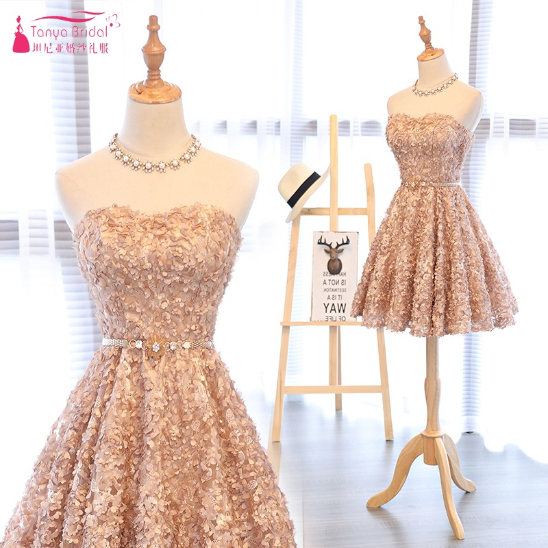 100% QualitäT Champagner Eine Linie Kurze Cocktail Kleider New Fashion Homecoming Kleid Kleid Grau Party Kleid R Dqg476