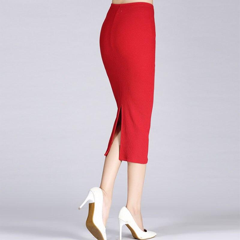 Newly Autumn Winter Women Pencil Skirt High Waist Cotton Solid Color Stretch Elastic Slim Business OL Split Bodycon Skirts