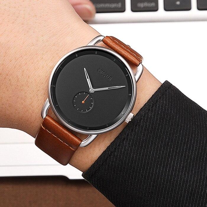 BAOGELA Mode Einfache Uhren Für Männer Ultra Dünne Analog Kleid Quarz Armbanduhr Mann Braun Aus Echtem Lederband Wasserdicht