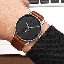 BAOGELA Fashion Simple Watches For Men Ultra Thin Analogue Dress Quartz Wrist Watch Man Brown Genuine Leather Strap Waterproof