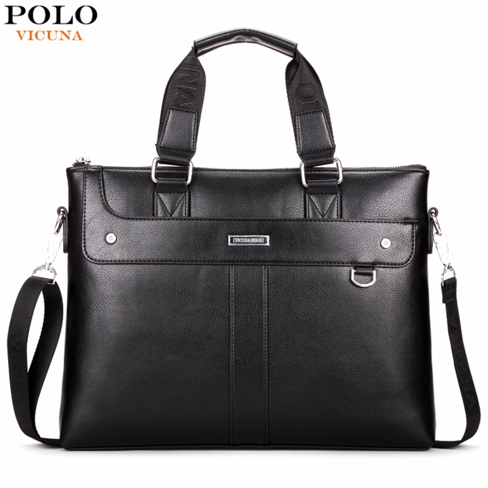 VICUNA POLO Classic Business Man Briefcase Brand Computer Laptop Shoulder Bag Leather Men's Handbag Messenger Bags Men Bag Hot kundui 2016 new hot sale pu multi pocket men business briefcase handbag man shoulder messenger bag laptop bags free shipping