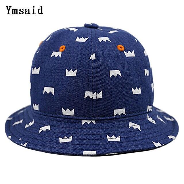 Al por menor Unisex al por mayor del bebé sombreros del cubo niños pequeña  corona impresión 53bfd37be04